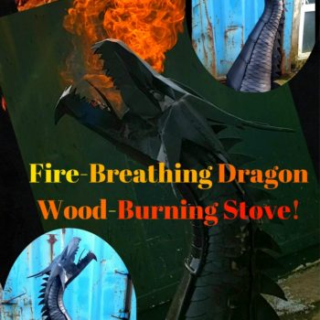 Upcycled 6ft Wood-burning Dragon Sculpture