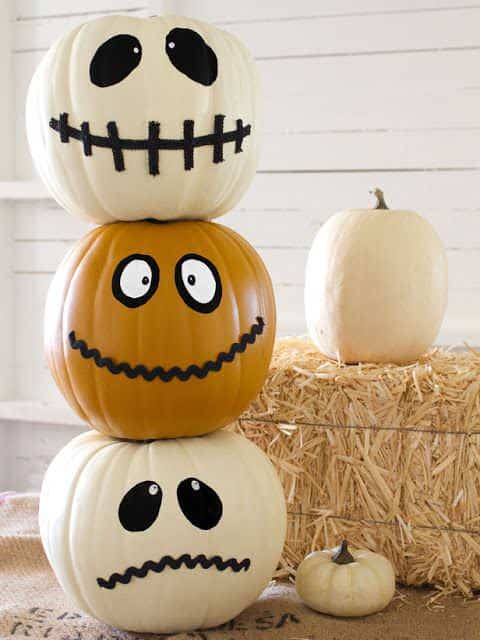 These cheery pumpkins will last much longer than carved ones since they are left intact. Theyre painted any way you want for Halloween 2017.