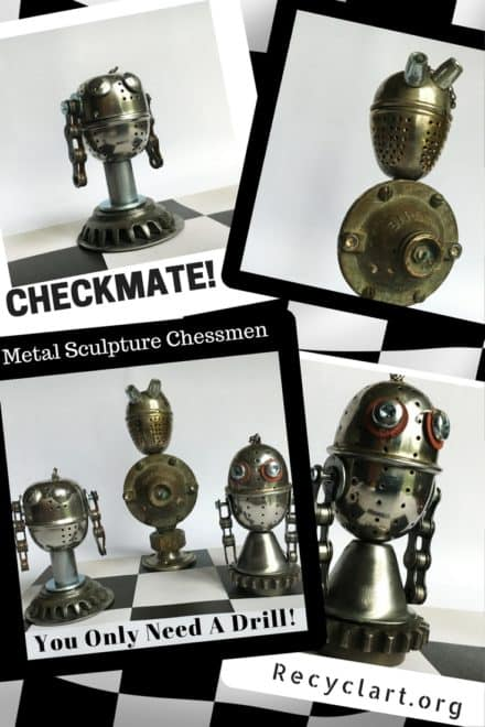 Metal Sculpture Recycled Chess Pieces