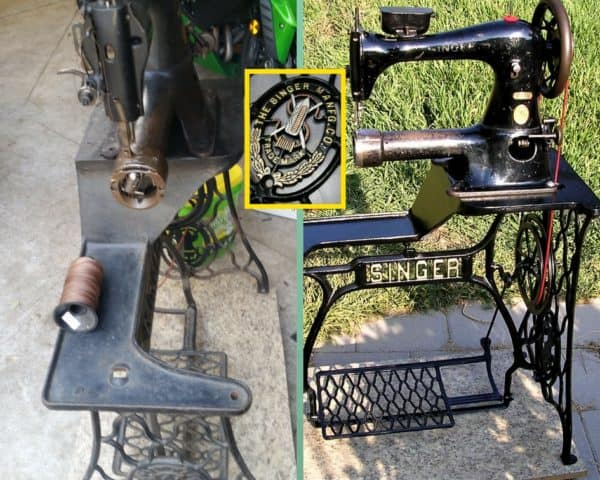 This 1918 Singer 43-5 industrial cylinder bed treadle was restored to functionality.