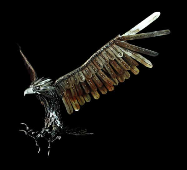 This eagle appears to be in motion, which is one of the characteristics of this artist's Upcycled Metal Sculptures.