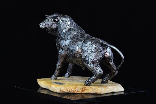 This bull is part of the series of Upcycled Metal Sculptures.