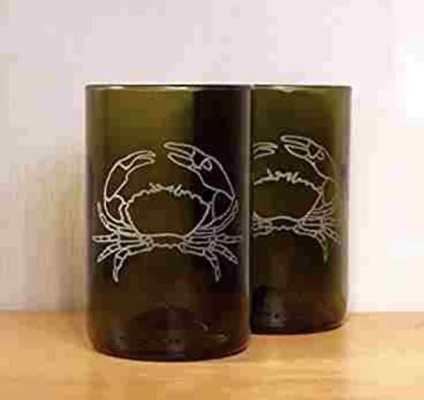Upcycled Etched Glasses Made From Bottles Recycled Glass