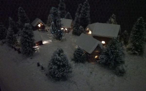 Winter Model Village lit up well in the shadows.
