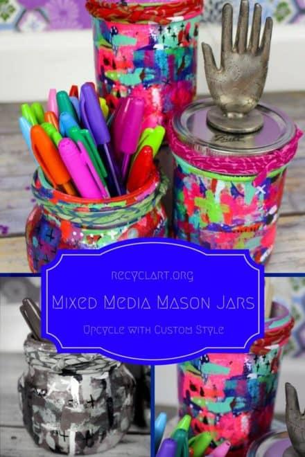 Cheery, Fun Mixed-media Upcycled Mason Jars
