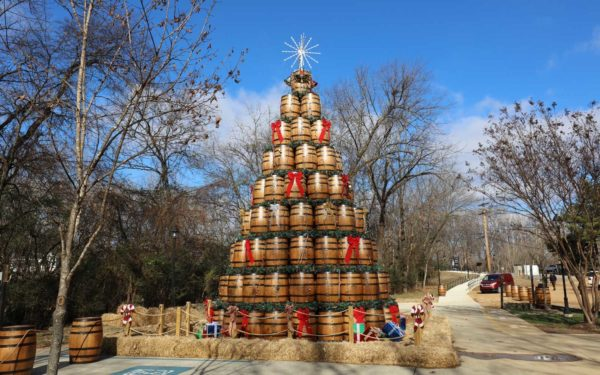 One of the top 10 Christmas Trees guaranteed to bring some cheer - a Jack Daniels tree made from the barrels that they age Jack Daniels alcohol in.