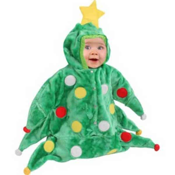 Christmas Trees can be costumes like this little baby wearing a warm, christmas-tree shaped jumper.