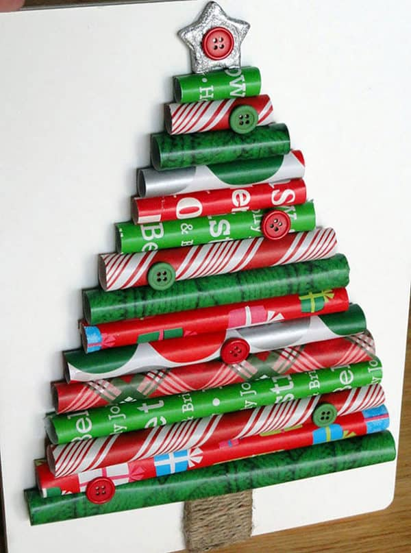 Christmas Trees can be wall art like this wrapping paper tree.