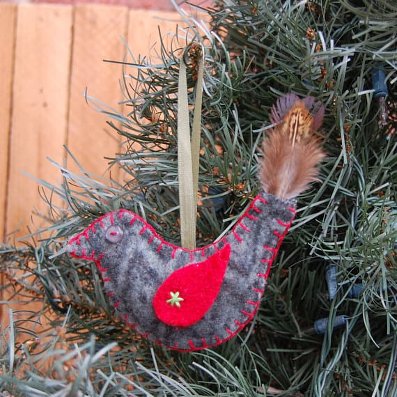 Add an upcycled, handmade wool bird to your Christmas Decor.