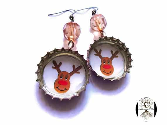 Christmas Decor also includes your wardrobe. Celebrate the holidays with a set of reindeer earrings made from upccyled bottle caps.