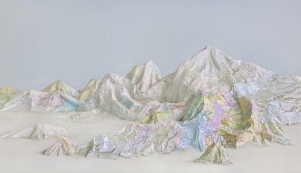 Earth's Diverse Landscapes Crafted from Artistically Repurposed Maps & Books Recycled Art