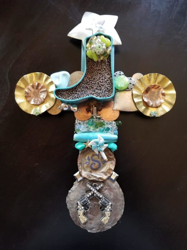 I upcycle many bits and pieces to create my Western Wall Cross.