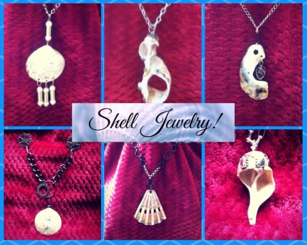 Upcycled Jewelry Pieces include shells that are embellished to enhance their natural beauty.