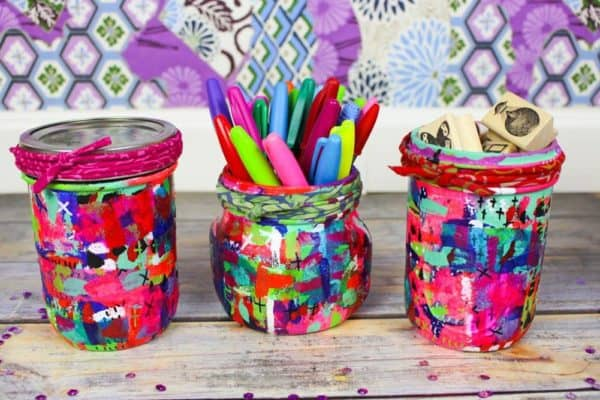 October 2017 Upcycled Crafts #2 idea was this set of mixed media mason jars!