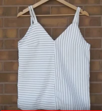 Turn men's shirts turned into cute tank tops - one of our top five October 2017 Upcycled Crafts.