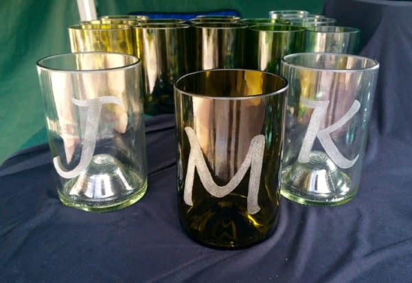 October 2017 Upcycled Crafts include this set of etched glasses from upcycled bottles.