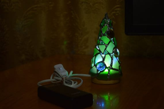 Another Upcycled Christmas Ideas that will add color to your home is this USB-powered sea glass lamp.
