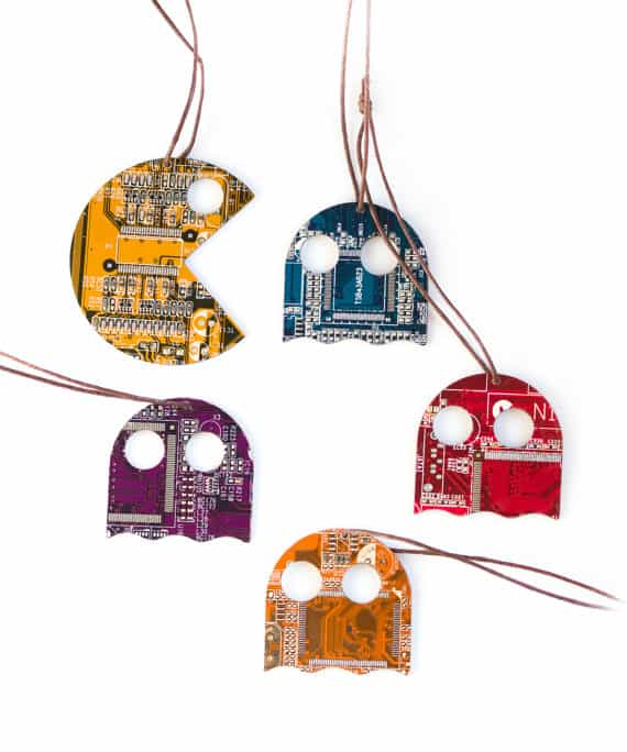 Tech Upcycled Christmas Ideas are perfect for that geek in your life, or that old-school gamer. Pac-man-themed ornaments or gift tags are great!