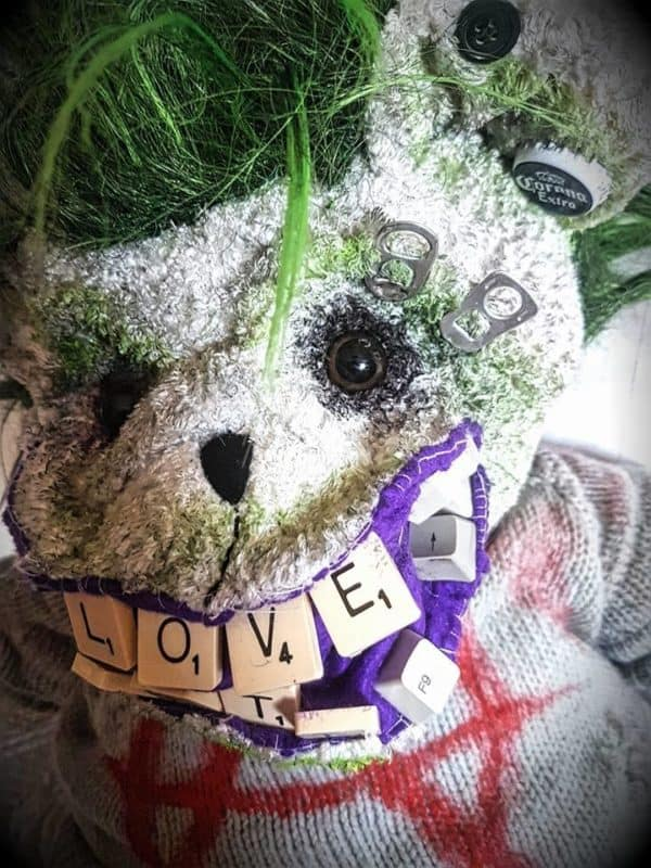 Green Devil Punk Bear From Upcycled Items Do-It-Yourself Ideas Recycled Art
