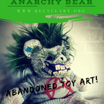 Green Devil Punk Bear From Upcycled Items