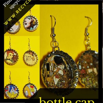 Toast These Stunning Collage Art Bottle Cap Earrings
