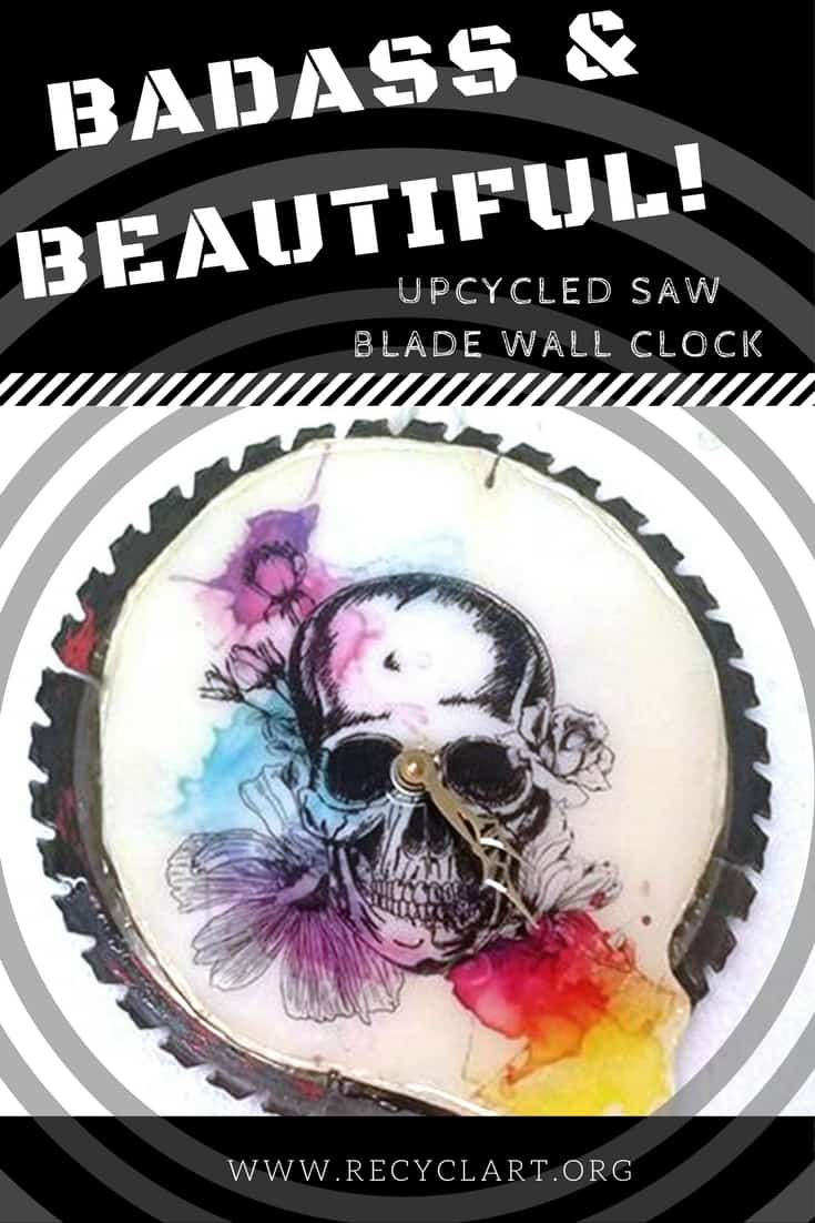 Make a cutting-edge wall clock by upcycling an old saw blade. Add your favorite artwork and coat it with epoxy resin to create a unique piece of functional wall art! #badass #sawblade #wallclock #diyideas #skullclock