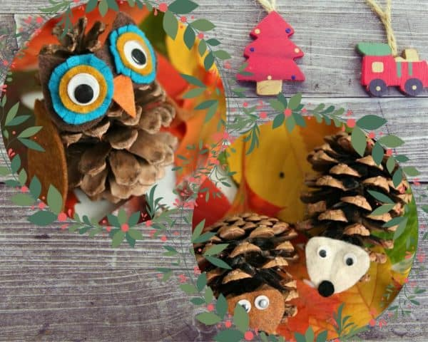 Pinecone Projects like these pinecone critters - an owl and hedgehogs - make great Christmas Tree Ornaments.