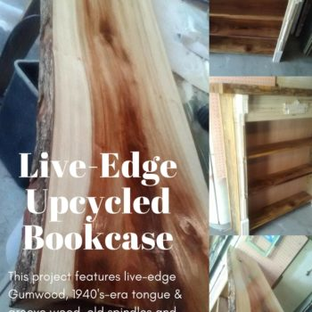 Upcycled Live-edge Fireplace Bookshelf