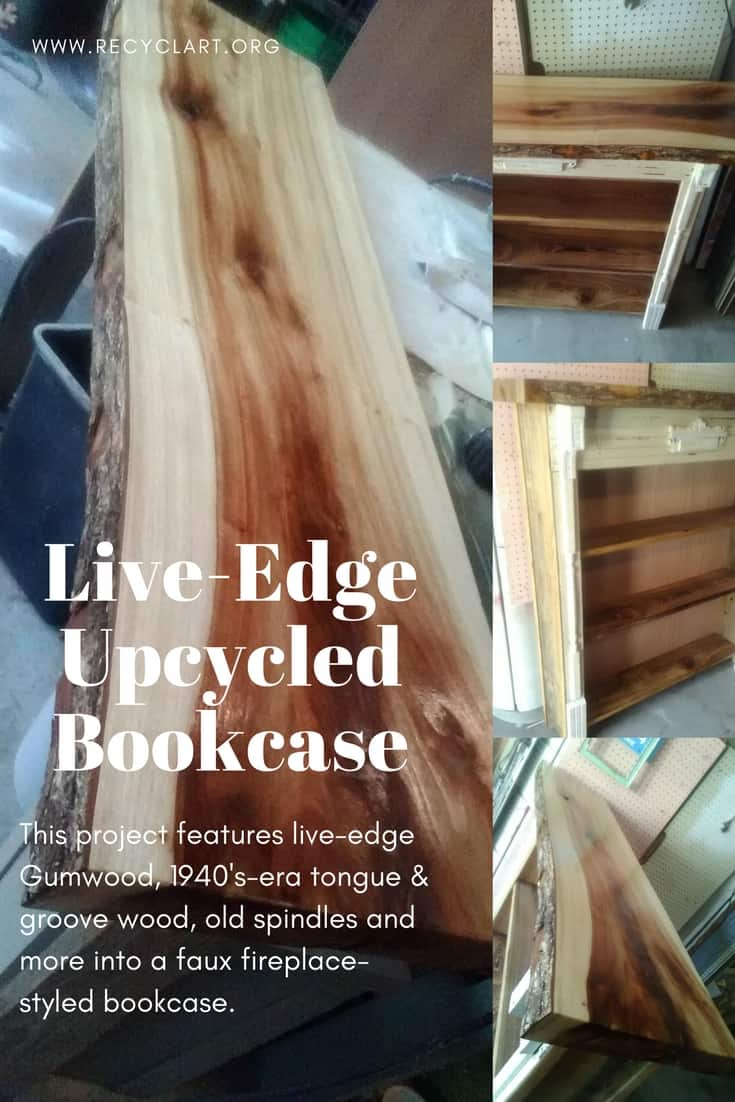 Live-edge Gumwood & 1940's-era spindles & trim are upcycled into an amazing Live-Edge Upcycled Faux Fireplace Bookcase. A functional and attractive piece of furniture to build! #liveedge #tongueandgroove #bookcase #bookshelf #gumwood