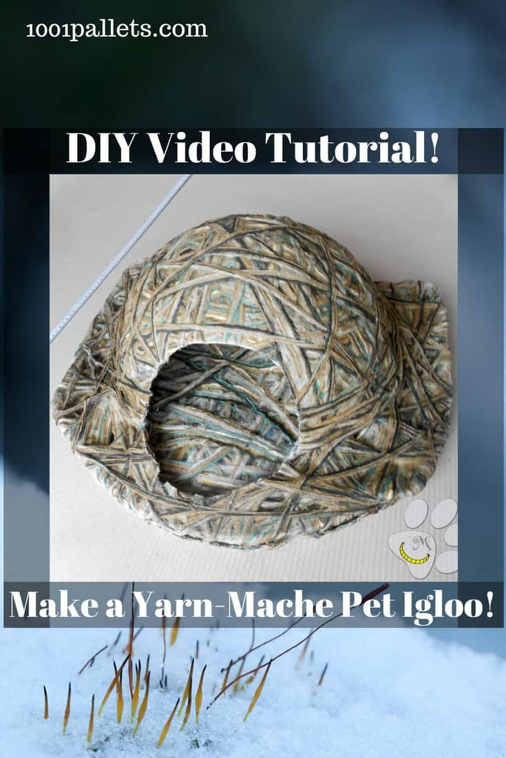 Turn yarn into a DIY mache cat or dog igloo for your pet! We've got recipes for homemade glue, too! Make a safe, non-toxic place just for your furry friend! #diypetbed #diy kennel #diyyarnmache #snowdayproject #funforkids #lovemypet