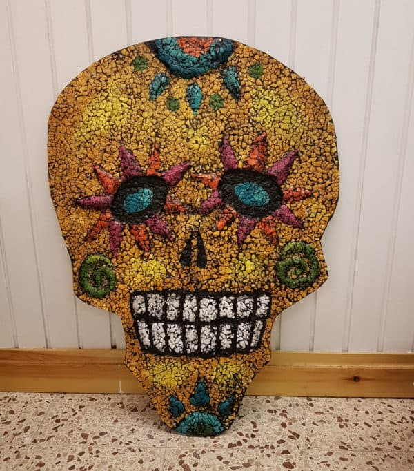 The finished Eggshell Sugar Skull.