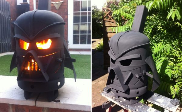Upcycled Fire Pits like this Darth Vader-inspired fire pit is a stunning tribute to the movie series.