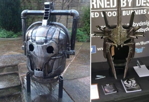 Upcycle tanks and other metal into amazing Upcycled Fire Pits with themes from science fiction and fantasy movies like the Lord of the Rings series.