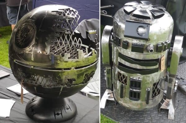 These Upcycled Fire Pits are almost too beautiful to use - a death star and R2-styled fire pit!