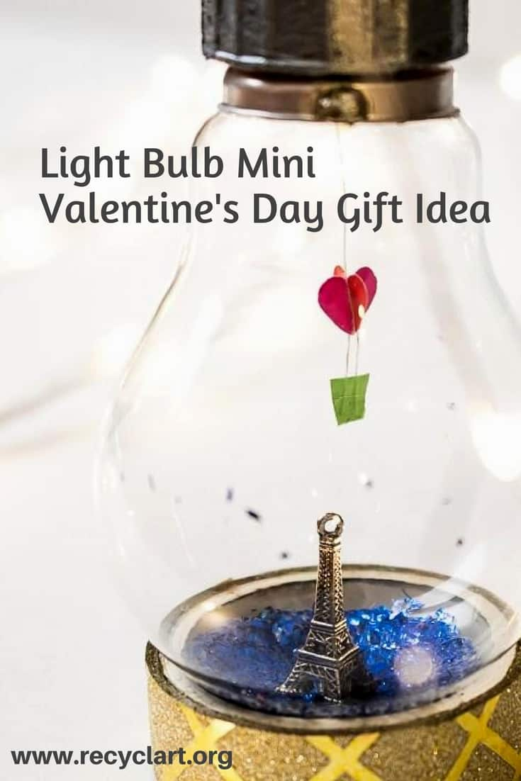 Bottle up your love in this Mini Valentine's Bulb DIY Idea! Put any kind of mini charm or personalized item into the center of the bulb. Everything's upcycled! #diyvalentinesgifts #loveinabottle #diyminibulbidea #recyclart #upcycleit