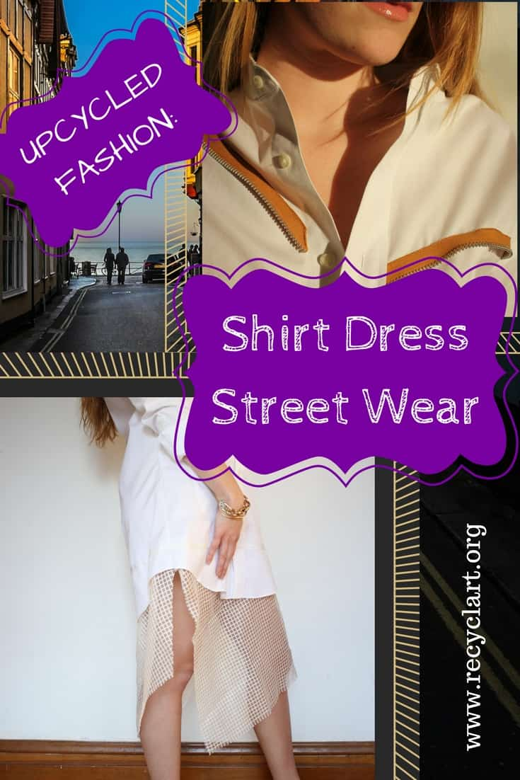 A men's shirt becomes a Shirt Dress with Street Style! Upcycle those dress shirts into unique, edgy, and tailored streetwear. Express your urban fashion sense and save lots of money! #diyclothing #upcycleoldclothes #recyclart #womensdress