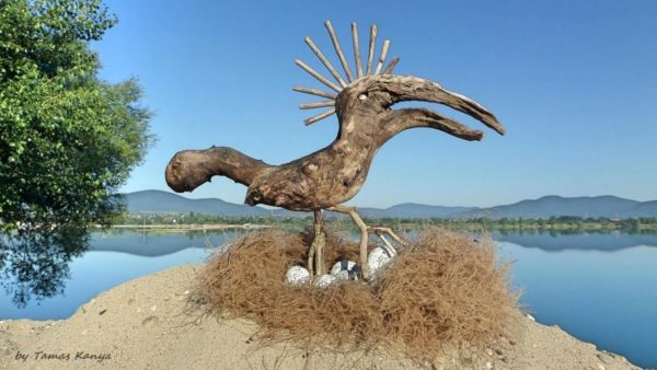 A mother bird Driftwood Art piece sits over her nest.