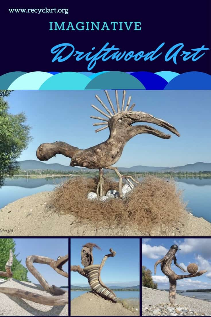 Serpents, Mermaids, aliens and more all made from driftwood! A surfer rides a large swimming serpent, while a lizard-like creature enjoys a grasshopper! More astounding art pieces will inspire your walks along the beach or rivers! #diyart