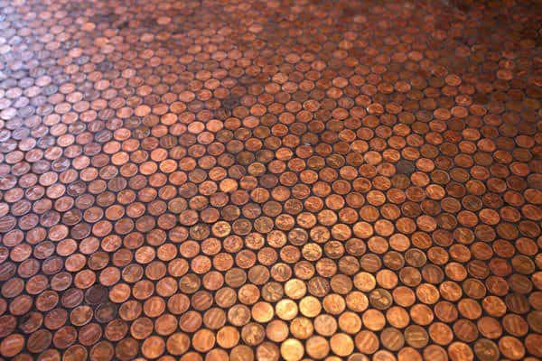 Upcycle Copper pennies into floors or countertops.