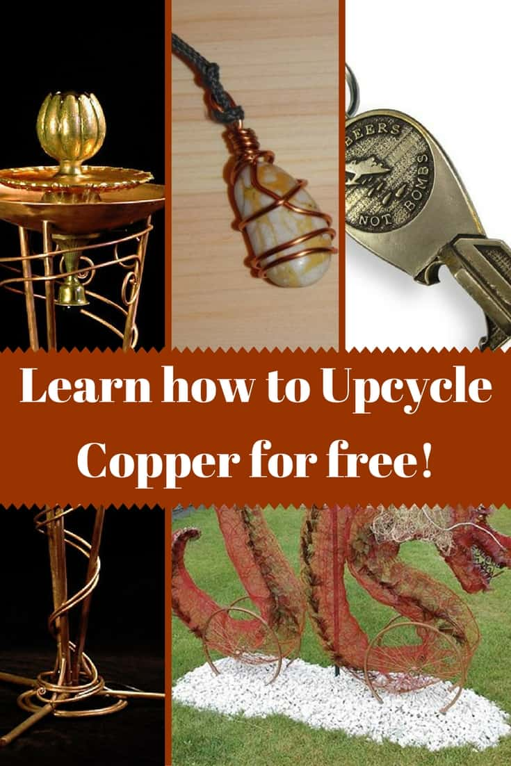 Upcycle copper Into imaginative jewelry, sculptures & more! From fountains to pendants and wall art, learn where you can upcycle copper for free for your idea! Turn broken blenders, electrical wire, plumbing and other items into free copper! #freecopper #upcyclecopper #copperart #copperjewelry