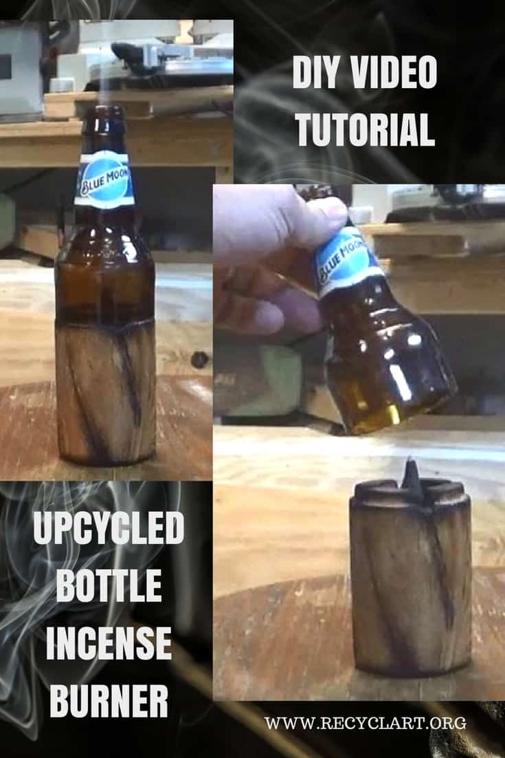 Video Tutorial: DIY Bottle Incense Burner makes a great gift! Use any beautiful bottle or adult beverage container and turn it into a piece of art! This idea is scent-sational!  #diyproject #diyincenseburner #diybottleincenseburner