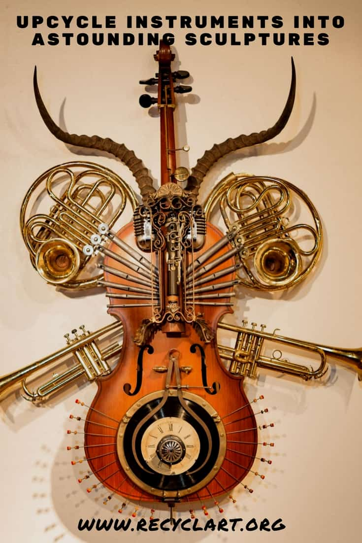 Astounding Nuevo Musical Instrumentrument Sculpture! This project combines french horns, pipe organ pieces, trumpets, microphones and more into a 5' tall idea! #celloart #concertogrossonuevosculpture #diyinstrumentsculpture