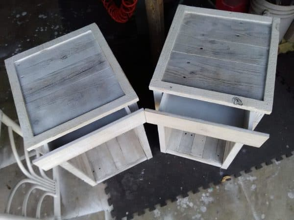 The whitewash coat on these Pallet Nightstands lets the grain shine through.