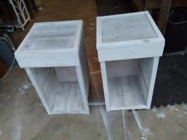 These Pallet Nightstands make excellent endtables in the living room as well.