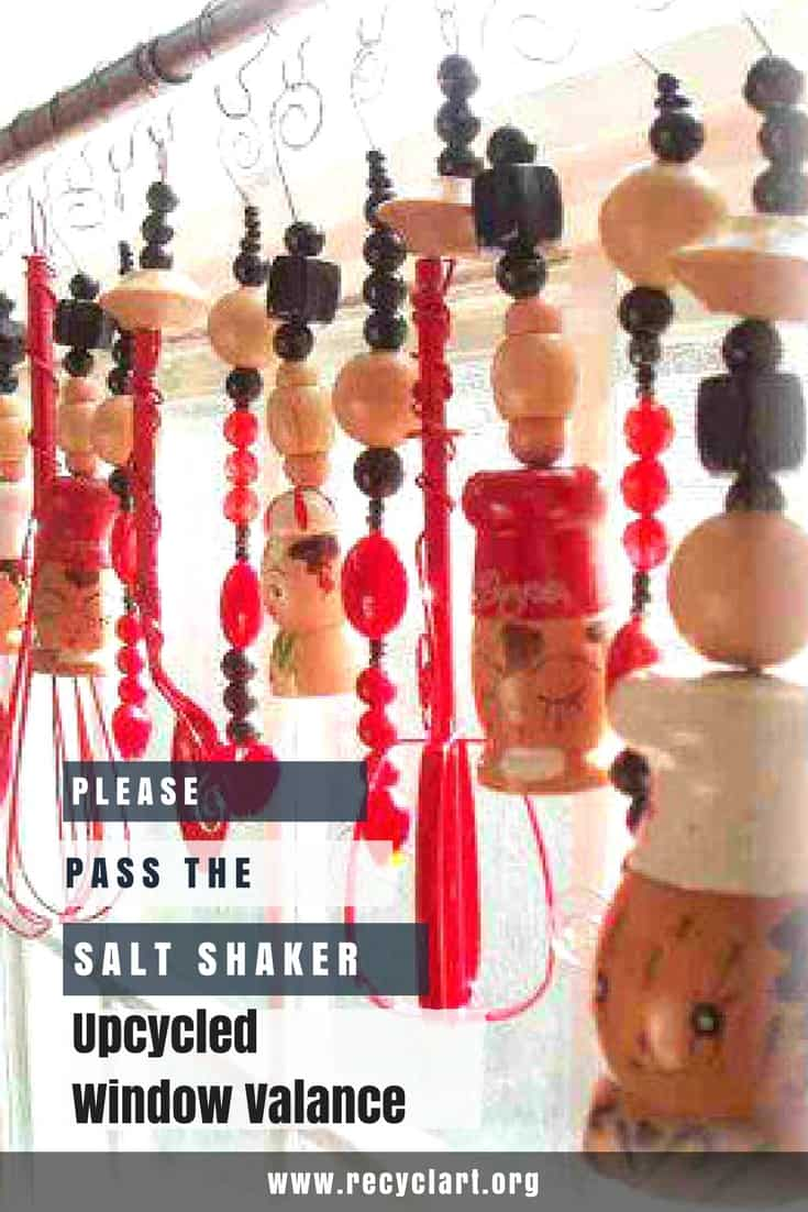 Please pass the Salt & Pepper Shakers for my Window Valance! Upcycle those old seasoning shakers, kitchen utensils and old wooden bead necklaces. #diyvalance #diywindowvalance #saltandpeppershakers