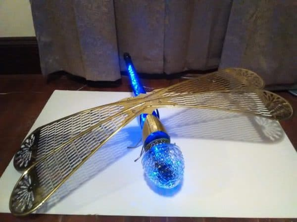 Solar Powered Blue Dasher Dragonfly Garden Ideas Lamps & Lights Recycled Glass