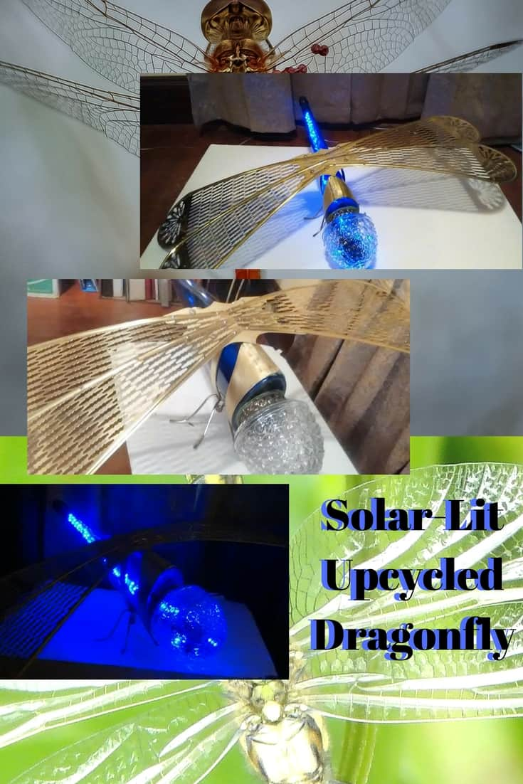 Create a Solar-Lit Dragonfly using a wine bottle & lamp pieces. Add a solar-powered string light kit and your bug will glow from within. So drink up & upcycle! #diydragonfly #winebottleart #solarlitartlamp #diyideasthatrock #diyinspiration