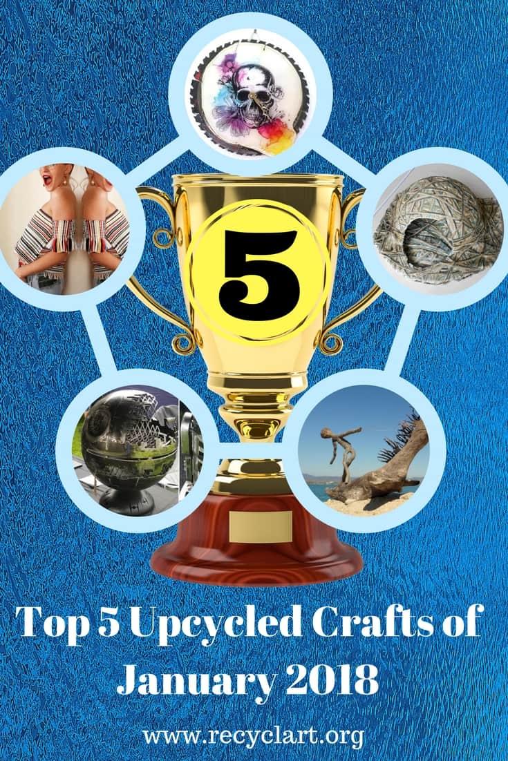 Check out the top 5 Upcycled Ideas of Jan. 2018! Build an upcycled fire pit, kitty igloo, cutting-edge clock, driftwood dinosaurs & Rockin' Rug tops! #diykittyigloo #chopsawclock #driftwoodart #fantasyfirepits #ragrugtubetop #diyideas
