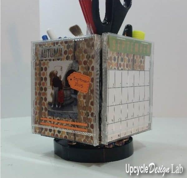 Turn Cd Jewel Cases Into This Spinning Desk Organizer Photo Calendar Cube! Diy video tutorials Recycled Plastic