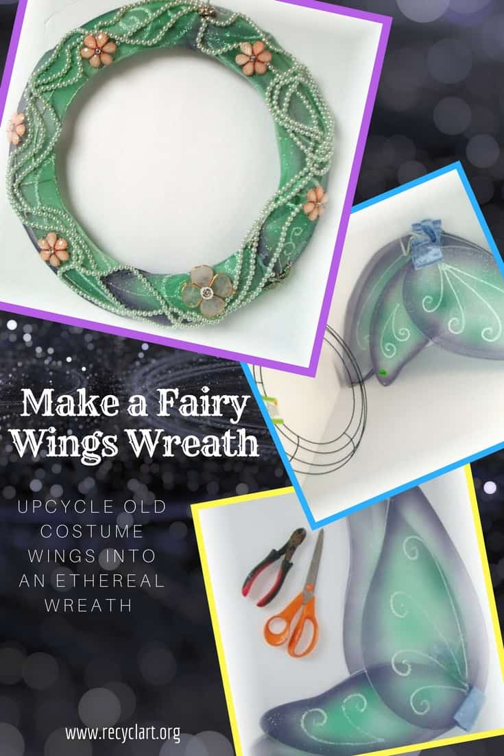Upcycle old costumes into a beautiful Fairy Wings Wreath! Use the mesh material from the wings & a $1 wreath frame to create custom, DIY home decor!  Upcycle leftover beads, trimming and other items from your hobby drawer, too! #diywreath